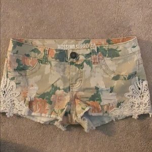 Printed denim and lace shorts